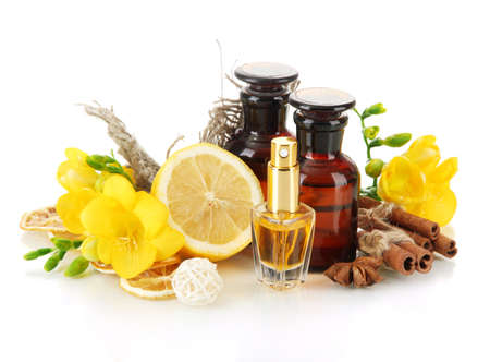 Bottles with ingredients for the perfume, isolated on white Stock Photo - 18573143