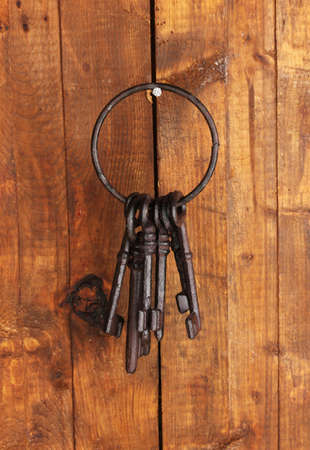 Bunch of old keys hanging on wooden wall Stock Photo - 18599036