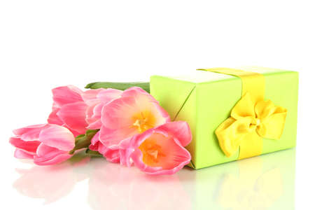 Pink tulips and gift box, isolated on white Stock Photo - 18573056
