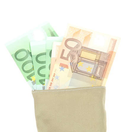 Bag of money with different euro banknotes isolated on white photo