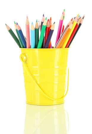 Colorful pencils in pail isolated on white Stock Photo - 18553698