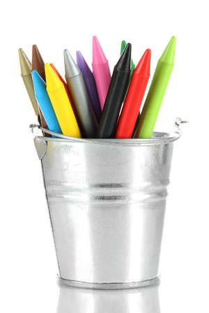 Colorful pencils in pail isolated on white Stock Photo - 18553733
