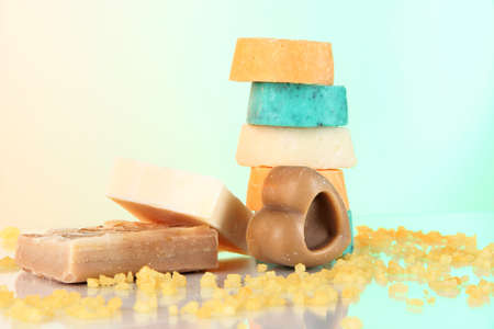 Variety of handmade soap on light background Stock Photo - 18553762