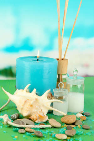 Sea spa composition on wooden table on blue natural background Stock Photo - 18553763