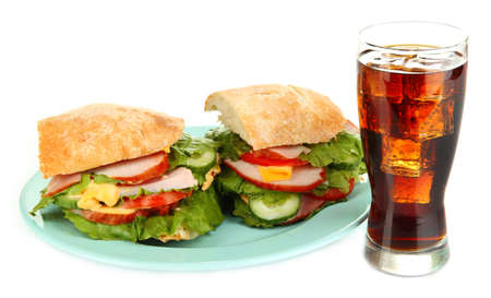 Tasty ham sandwich and glass of cola with ice isolated on white Stock Photo - 18553769