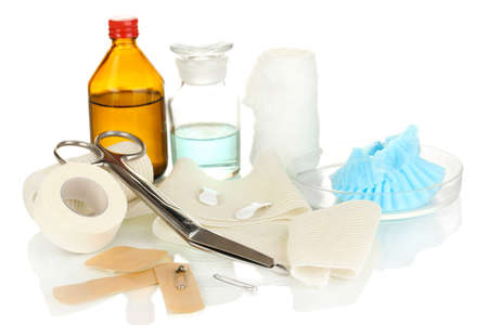 First aid kit for bandaging isolated on white Stock Photo - 18578539