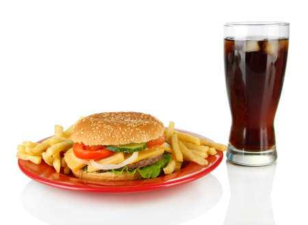 Tasty cheeseburger with fried potatoes and cold drink, isolated on white photo