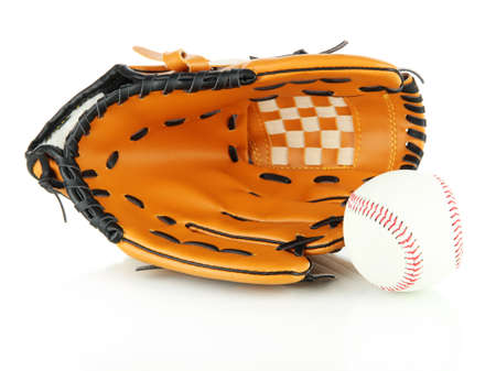 Baseball glove and ball isolated on white photo