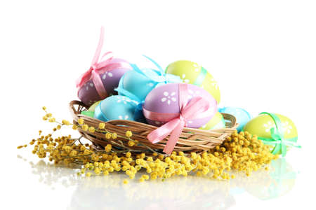 Easter eggs in basket and mimosa flowers, isolated on white photo