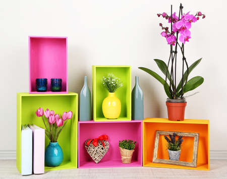 home related: Beautiful colorful shelves with different home related objects