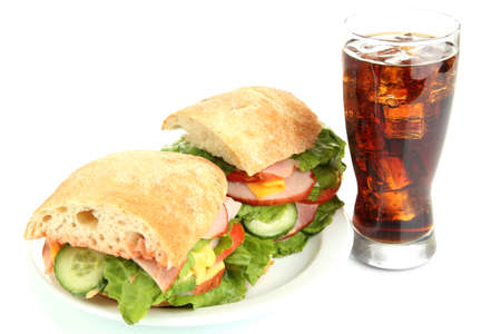 Tasty ham sandwich and glass of cola with ice isolated on white photo