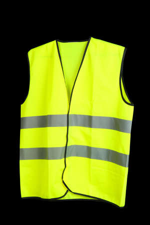 yellow jacket: Yellow vest, isolated on black
