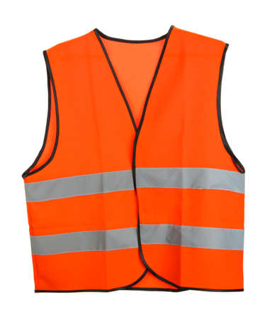 Orange vest, isolated on black Stock Photo
