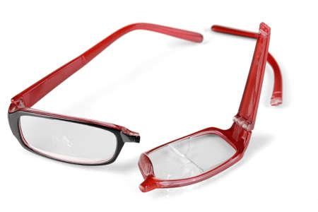 glass break: Broken glasses isolated on white