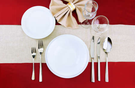holiday table setting, close up photo