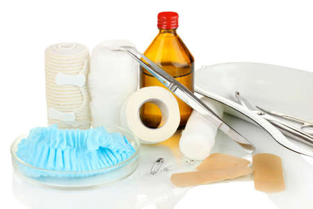 First aid kit for bandaging isolated on white Stock Photo - 18605442