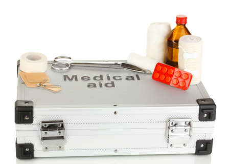 First aid kit for bandaging isolated on white Stock Photo - 18605582
