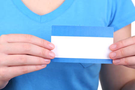 Blank nametag on girl's clothes close up Stock Photo - 18605657