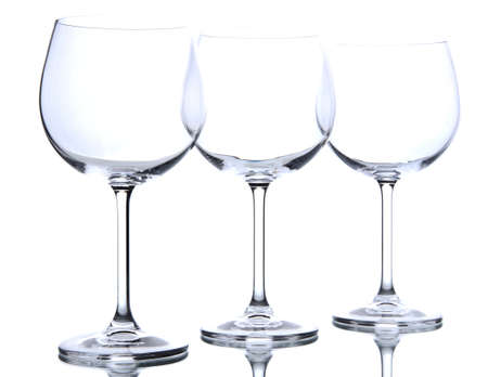 stemware: Empty wine glasses arranged and isolated on white