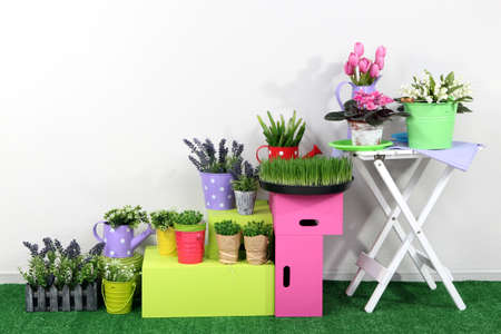 Colorful shelves and table with decorative elements standing on grass photo