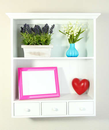 Beautiful white shelves with different home related objects Stock Photo - 18610153