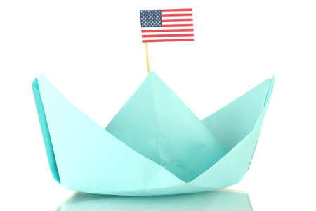 Ship with the American flag, isolated on white. Columbus Day. photo