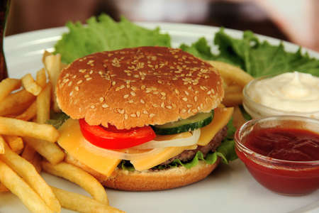 Tasty cheeseburger with fried potatoes, on bright background photo