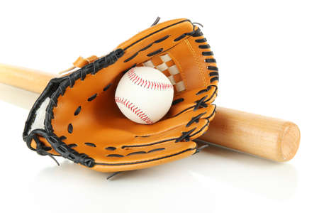 Baseball glove, bat and ball isolated on white photo