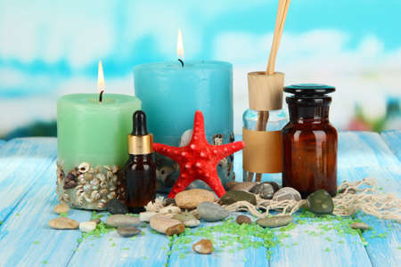 Sea spa composition on wooden table on blue natural background Stock Photo - 18686082
