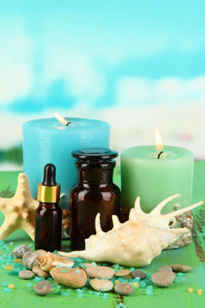 Sea spa composition on wooden table on blue natural background Stock Photo - 18685785