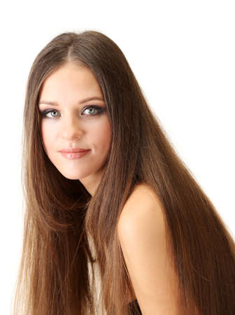 Portrait of beautiful woman with long hair, isolated on white Stock Photo - 19035065