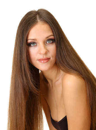 Portrait of beautiful woman with long hair, isolated on white photo