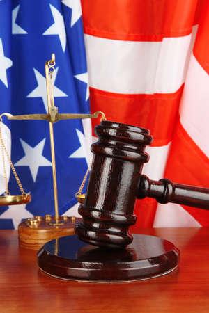Judge gavel on american flag background photo