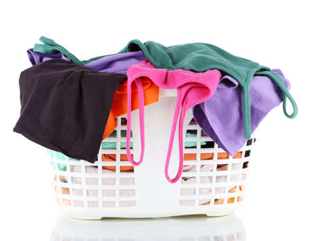 Clothes in plastic basket isolated on white Stock Photo - 18741738