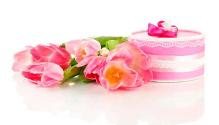 Pink tulips and gift box, isolated on white Stock Photo - 18741428