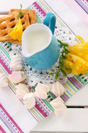 Beautiful composition of milk and cookies on wooden picnic table close-up photo