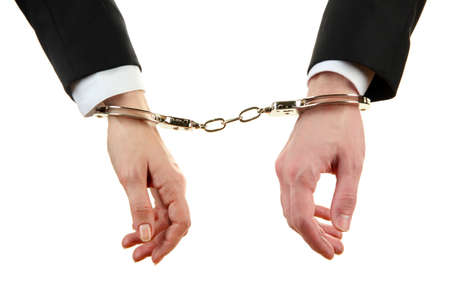 Man and woman hands and breaking handcuffs isolated on white background Stock Photo - 18741466