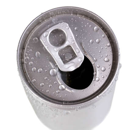 aluminum can with water drops isolated on white photo