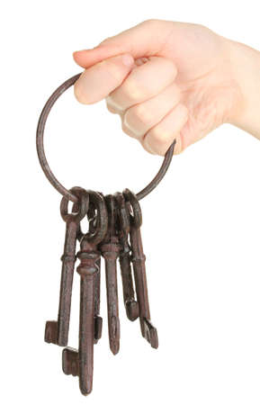 Bunch of old keys in hand isolated on white Stock Photo - 18776037