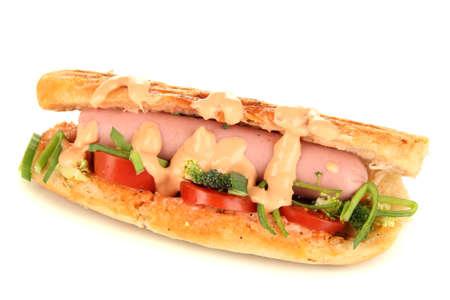 Delicious hot dog isolated on white photo