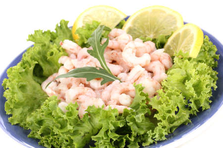 Delicious marinated shrimp in plate isolated on white photo