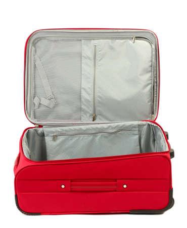 Opened empty red suitcase isolated on white photo