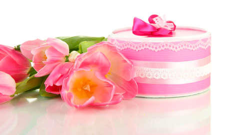 Pink tulips and gift box, isolated on white Stock Photo - 18867062