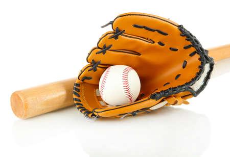 guante de beisbol: Guante de béisbol, un bate y una pelota aislada en blanco