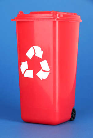 degradable: Recycling bin on blue background