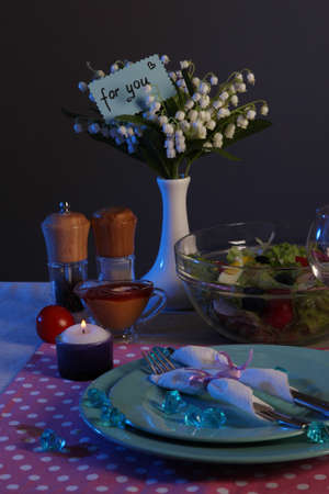 Table setting on dark background Stock Photo - 18891971