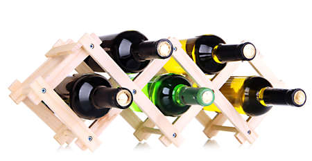 cabarnet: Bottles of wine placed on wooden stand isolated on white