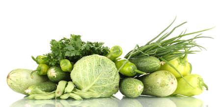 fresh green vegetables isolated on white Stock Photo