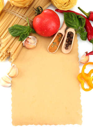 paper for recipes, spaghetti with vegetables and spices, isolated on white photo