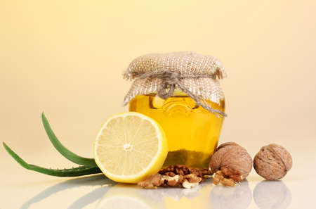 strengthening: Healthy ingredients for strengthening immunity on yellow background